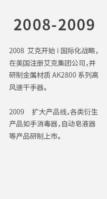 2008 必威官方网站开始i国际化战略,在美国注册必威官方网站集团公司,并研制金属材质AK2800系列高风速必威体育手机投注。 2009 扩 拷贝