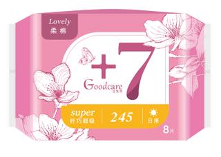 +7纤巧柔棉日用245mm卫生巾8片