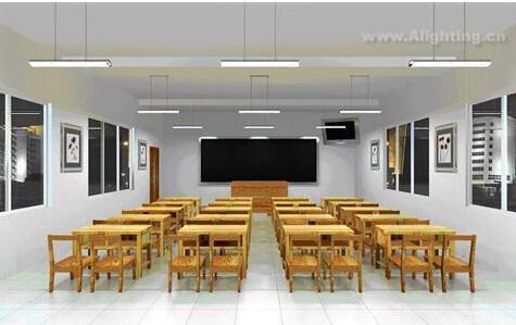 教室照明改造采用百分百照明专业的教室荧光灯配合专用的教室格栅灯盘