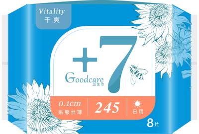 +7丝薄干爽日用245mm卫生巾8片