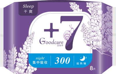 +7超熟睡干爽夜用300mm卫生巾8片