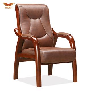 广东鸿业盛大办公家具 厂家直销 实木扶手电脑椅办公椅 皮质会议椅D-344