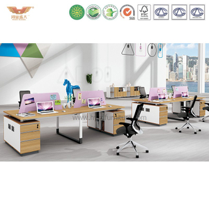 厂家直销 现代简约板式四人位职员办公桌 时尚办公室职员桌 H90-0216