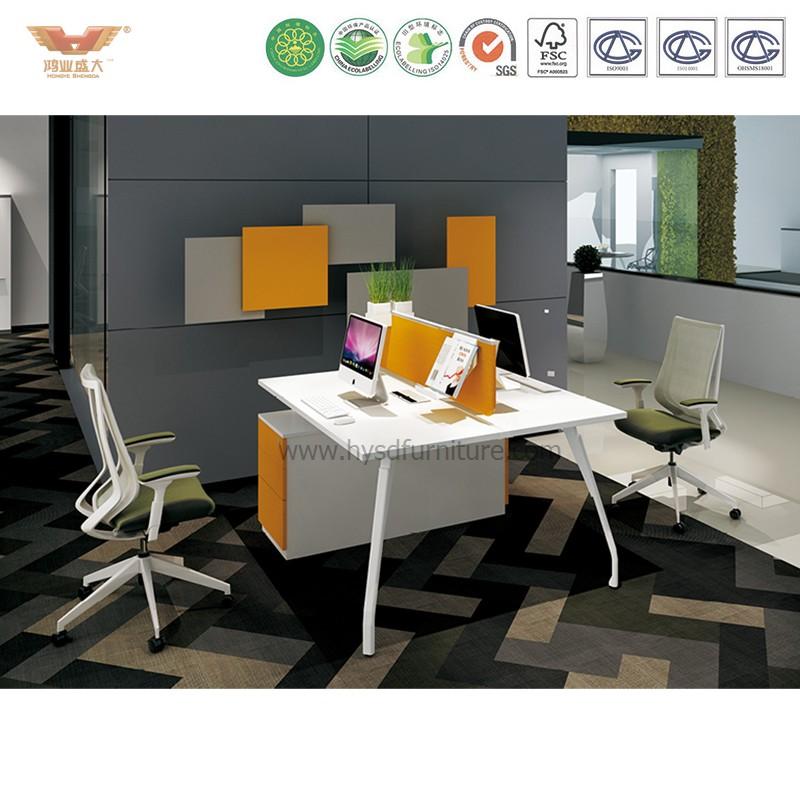 江南家具 简约时尚创意桌脚 苹果木两人工作站 clever-S-01-1*2
