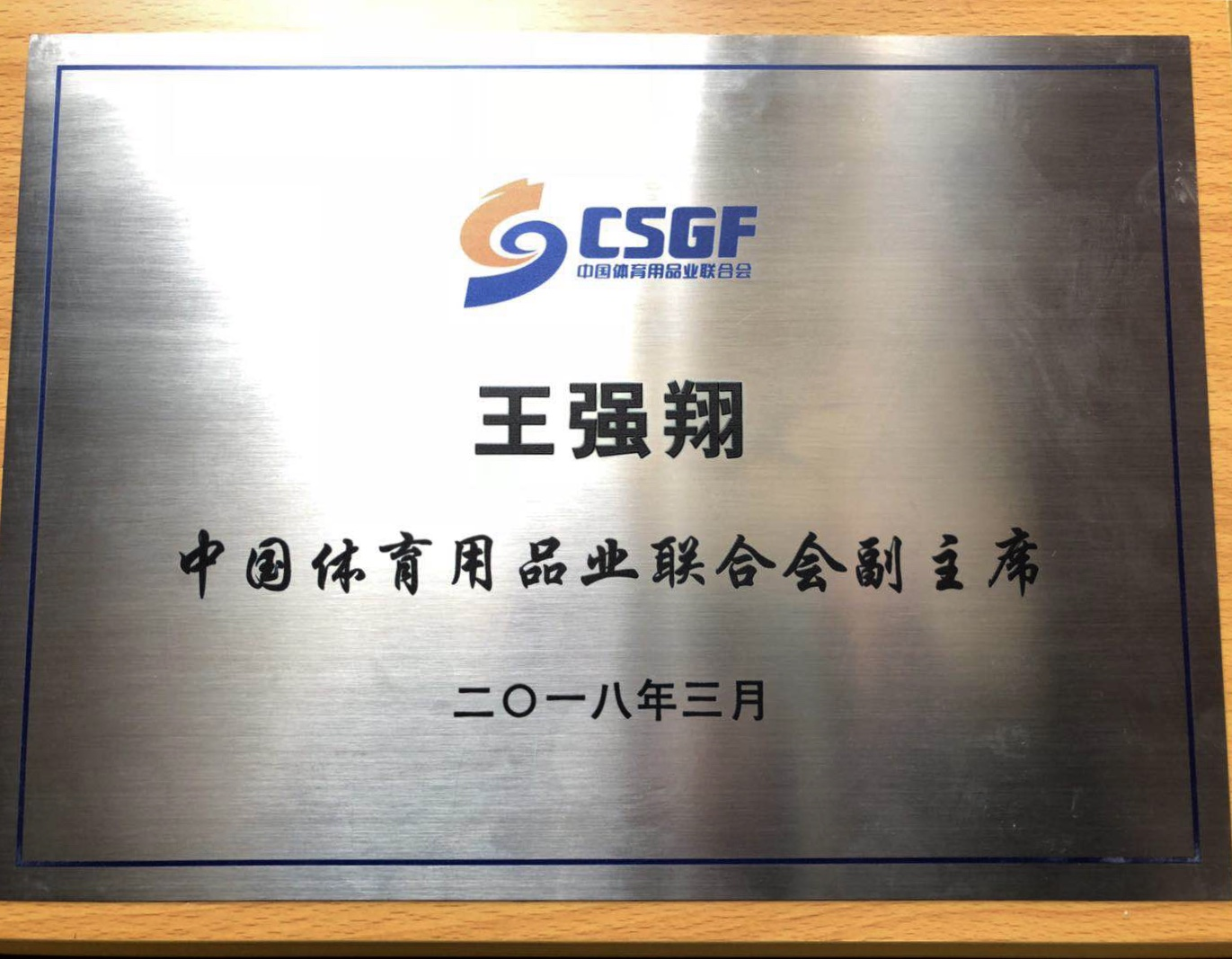 中国体育用品业联合会副主席标牌