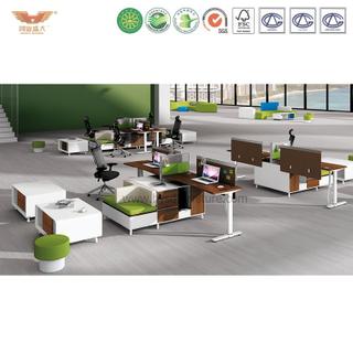 厂家直销 新款上市 两人位屏风办公桌带两人位沙发 职员办公桌 鸿业盛大 H15-0811