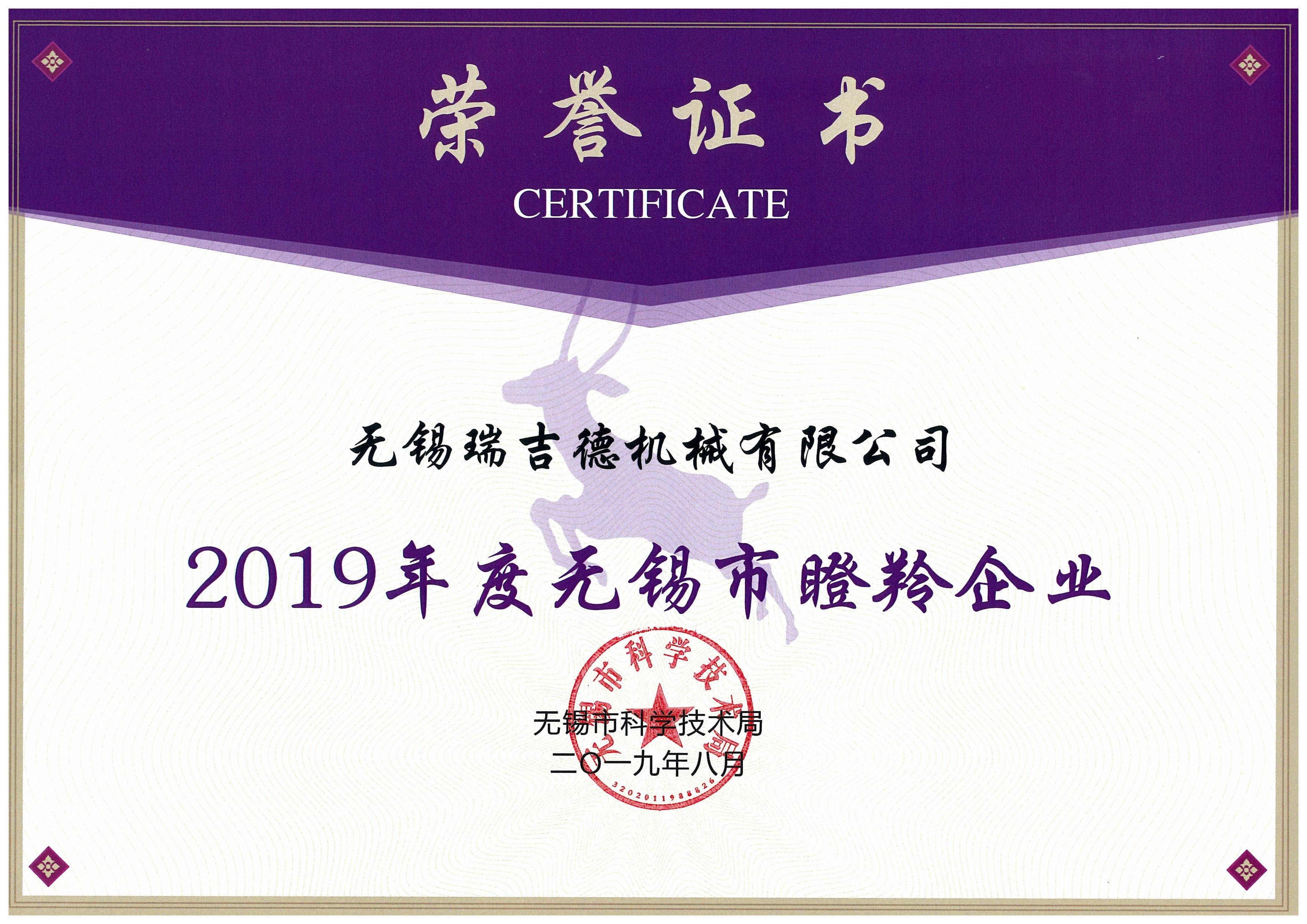2、瞪羚企业-证书