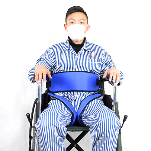 The wheelchair thigh type secure fixed ties a belt approximately