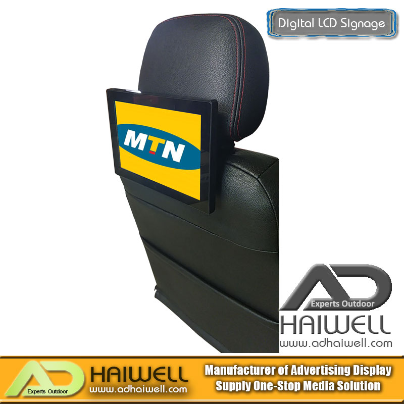 Taxi Car Seat Android LCD Advertising Screen   Adhaiwell